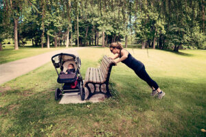 Calli Institute Blog-Mom exercising with baby in stroller